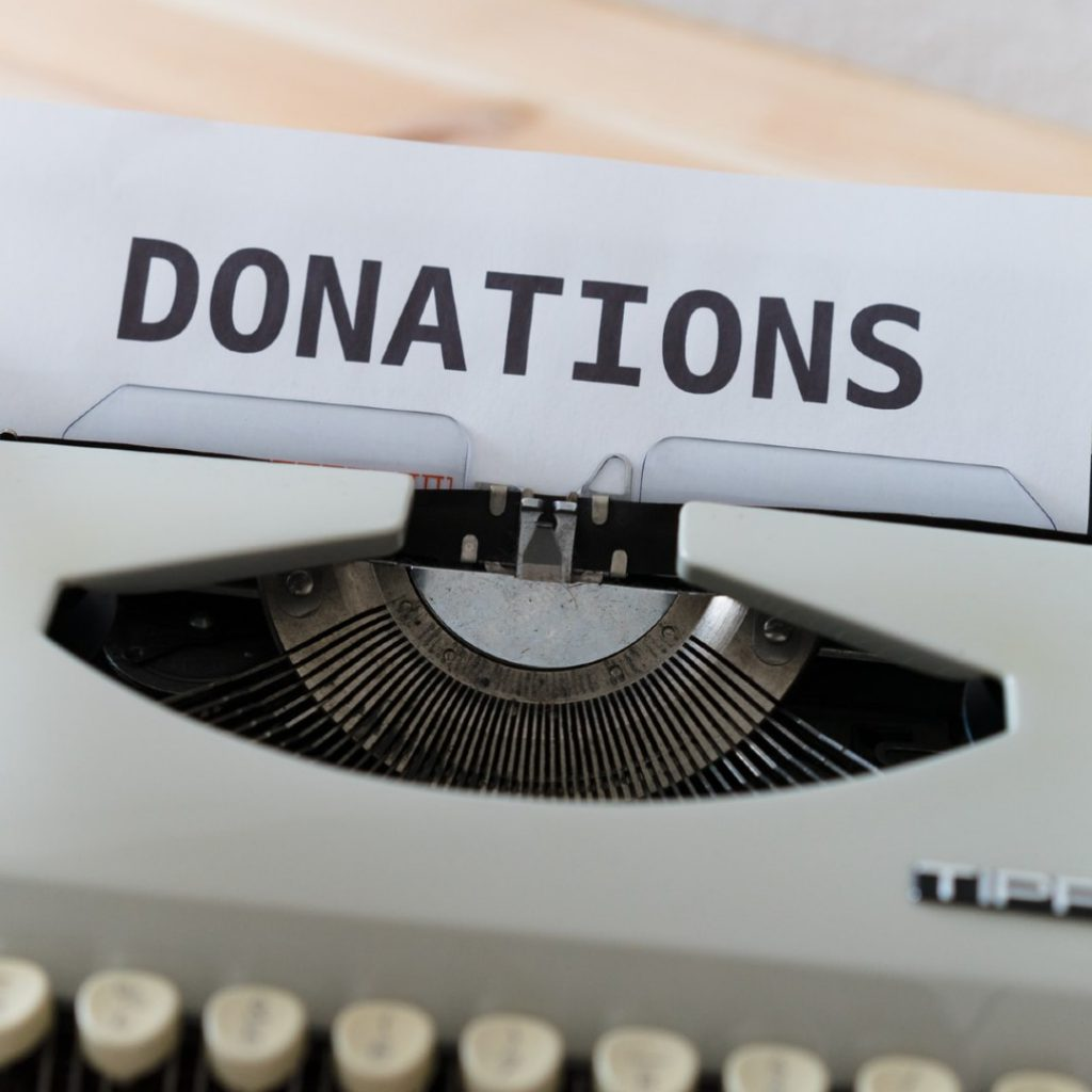 donations written on typerwriter
