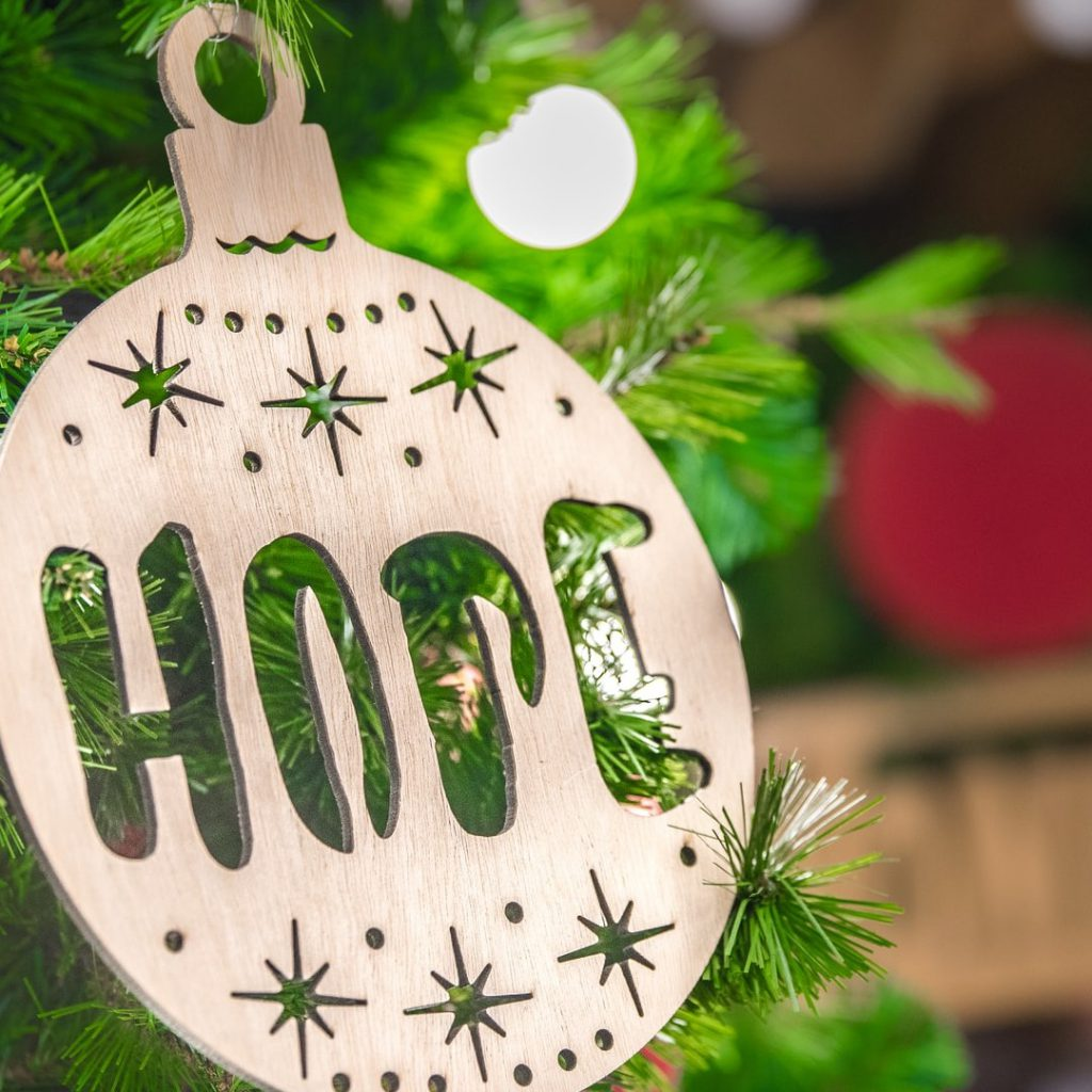 hope christmas tree ornament