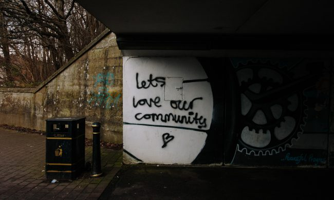 spray painted community message