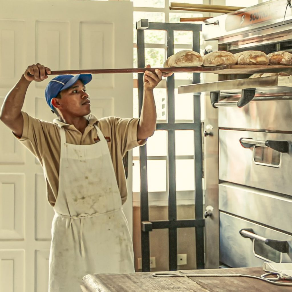 man baking bread